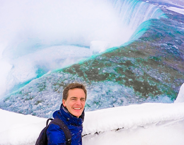 Bart Lapers at frozen Niagara Falls HorseShoe Falls Canada