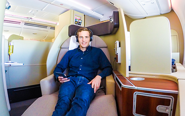 Bart Lapers Qantas First Class A380 London Dubai
