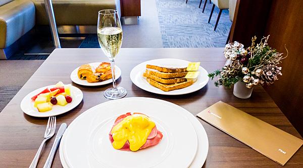 Breakfast at British Airways Galleries First Class Lounge Terminal 3 London Heathrow Airport