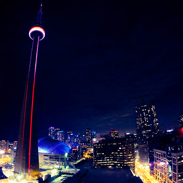 CN Tower view from InterContinental Toronto Centre room 2327