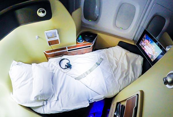 Qantas First Class A380 Full Flat Bed Seat 4A London Dubai
