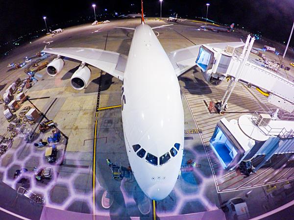 Qantas First Class A380 seen from the Melbourne First Class lounge