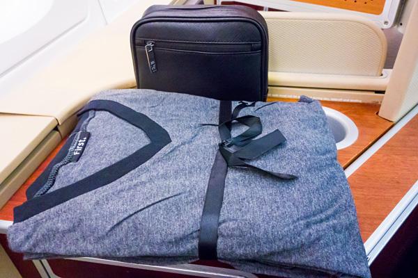 Qantas First Class Amenity kit and pyjamas