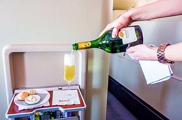 Qantas First Class Amuse Bouche and Champagne