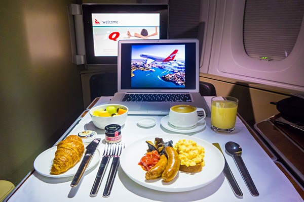 Qantas First Class Breakfast Melbourne to Dubai