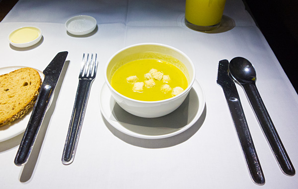 Qantas First Class Cream of pea and mint soup with croutons