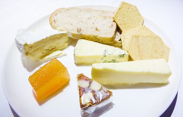 Qantas First Class Dining Selection of cheese served with accompaniments