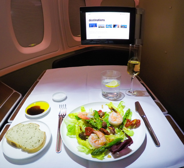 Qantas First Class King Prawn Salad