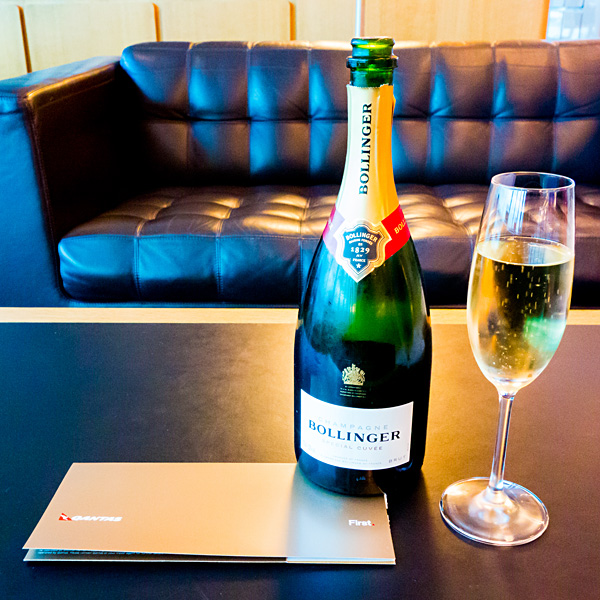Qantas First Class Lounge Melbourne Bollinger Brut Champagne Special Cuvee
