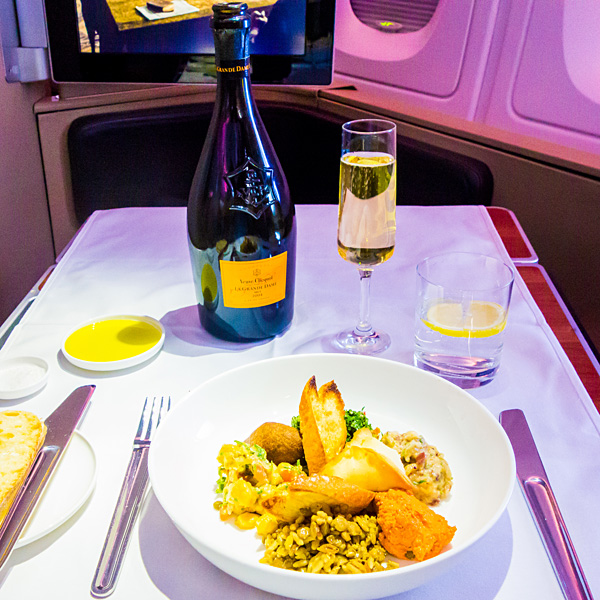 Qantas First Class Lunch Mezze plate inspired by Emirates Veuve Clicquot La Grande Dame 2004
