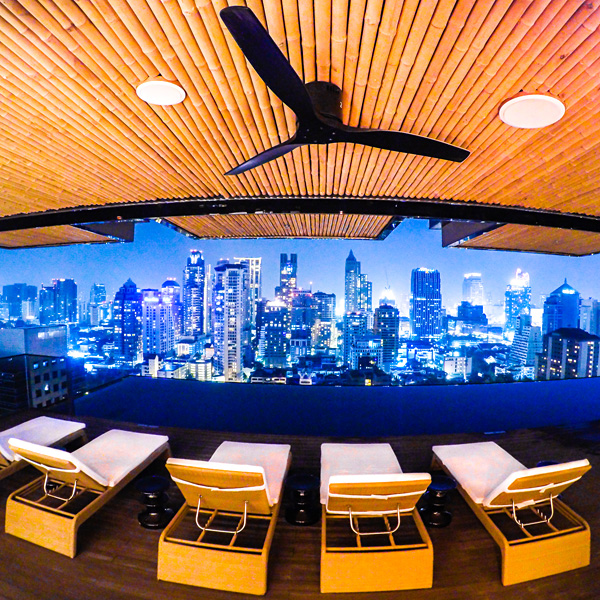 Hotel Indigo Bangkok Wireless Road Rooftop Pool at night
