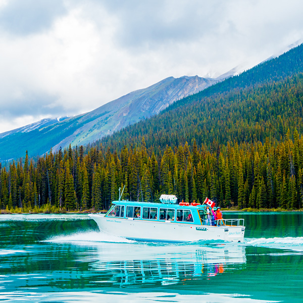 Boat to Spirit Island on Maligne Lake Jasper National Park Canada