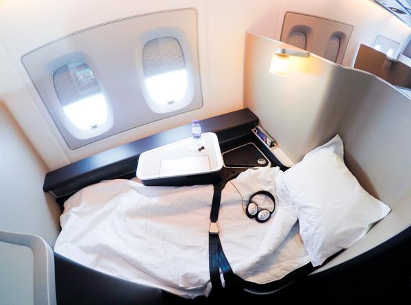 British Airways A380 LHR LAX First Class full-flat bed
