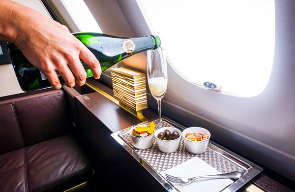 Etihad Airways First Class A380 Bollinger La Grande Annee Pre-departure drink