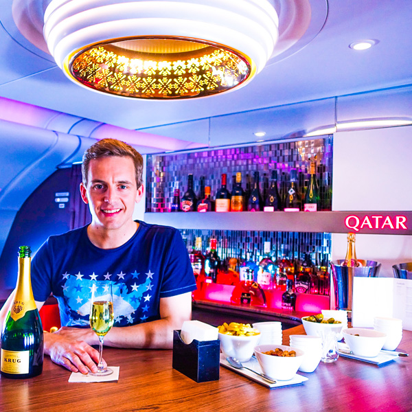 Bart Lapers at Qatar Airways A380 bar First Class and Business Class