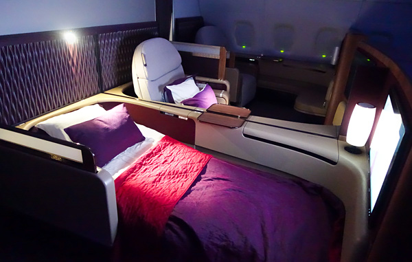 Qatar Airways A380 First Class full flat bed