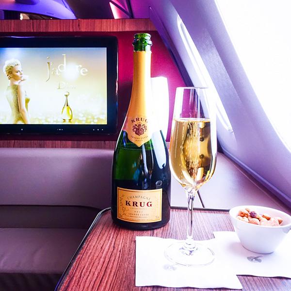 Qatar Airways A380 First Class Krug Champagne