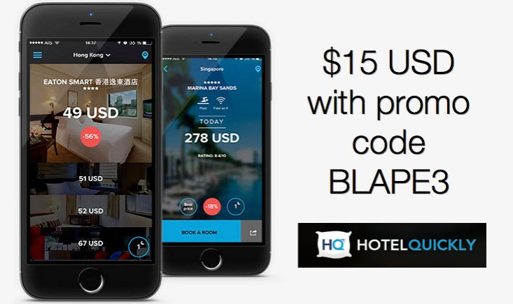 HotelQuickly promo code 15 USD free credits