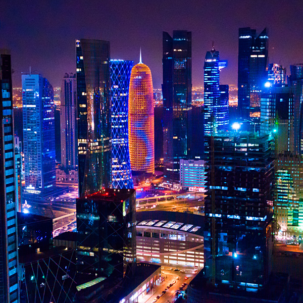 InterContinental Doha The City nighttime view
