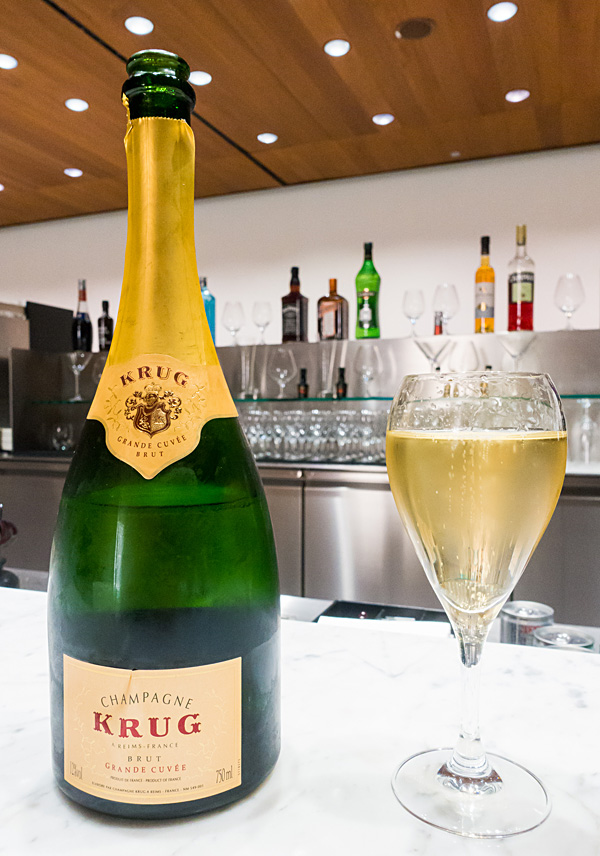 Krug Champagne at Qatar Airways Doha Al-Mourjan Business Class Lounge