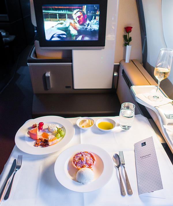 Lufthansa First Class Cheese and Warm Apple Crumble dessert