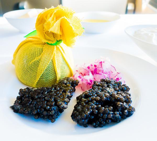 Lufthansa First Class Dining Caviar Service