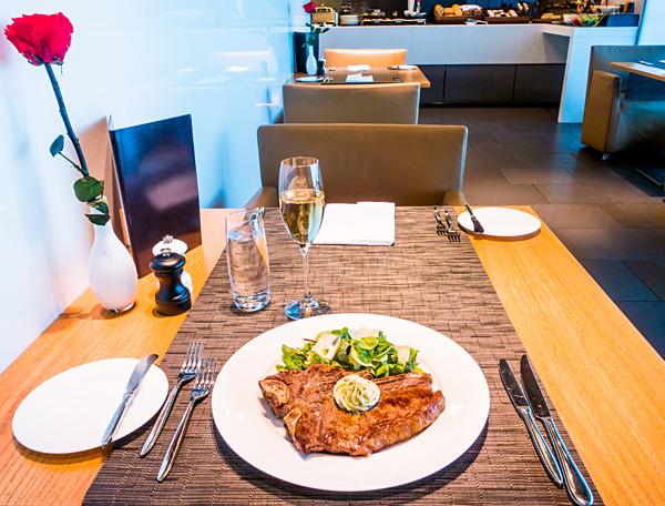 Lufthansa First Class Lounge Restaurant T-Bone Steak