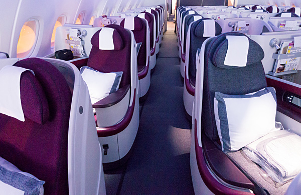 Qatar Airways A380 Business Class Cabin overview