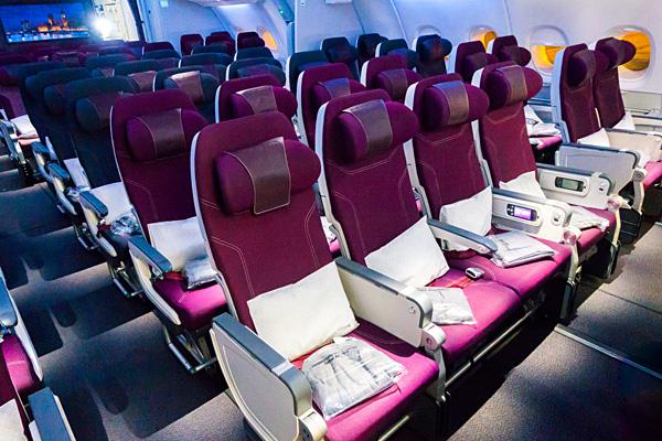 Qatar Airways A380 Upper Deck Economy Class Cabin