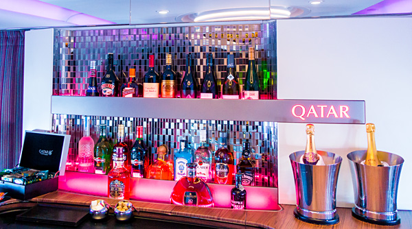 Qatar Airways A380 The Lounge Bar Drinks and Cocktails