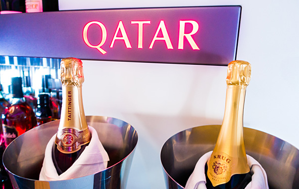 Qatar Airways A380 The Lounge Bar Krug Taittinger Champagne for Business and First Class
