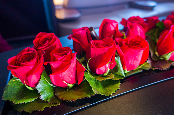 Qatar Airways A380 The Lounge Fresh Roses
