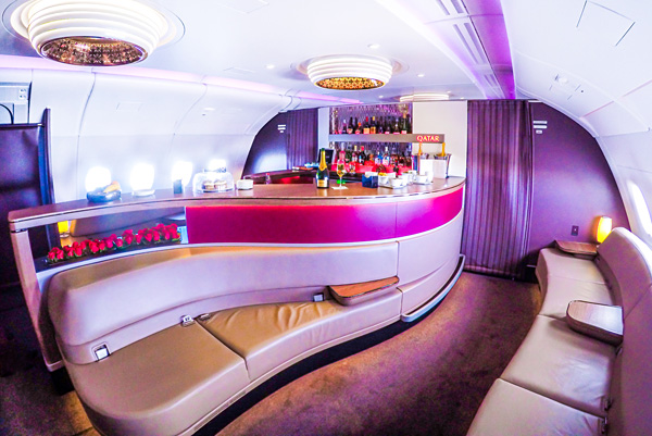 Qatar Airways A380 The Lounge Bar for Business and First Class Passengers