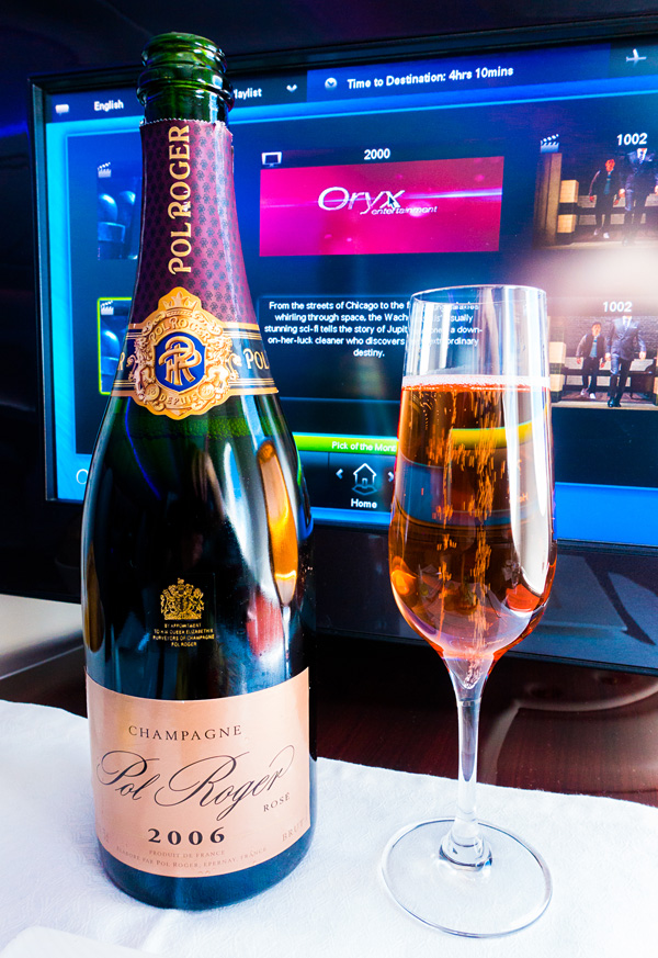 Qatar Airways B787 Business Class Pol Roger 2006 Rose Champagne