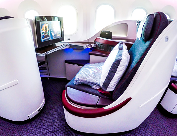 Qatar Airways B787 Dreamliner Business Class Seat 2K Brussels Doha