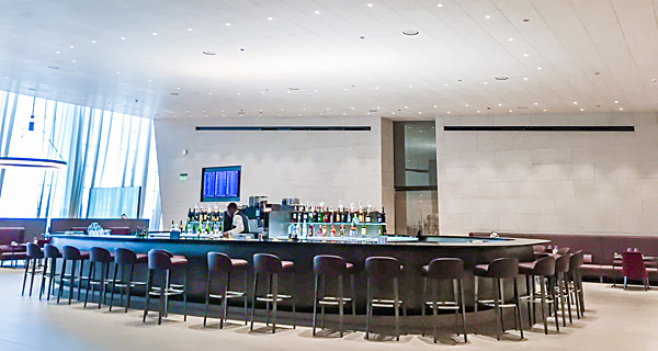 Qatar Airways First Class Lounge Al Safwa bar area Doha