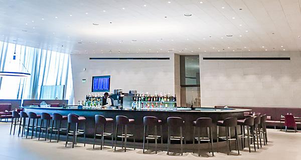 Qatar Airways First Class Lounge Al Safwa bar area Doha