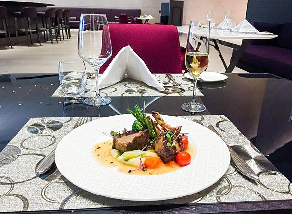 Qatar Airways First Class Lounge Doha lunch