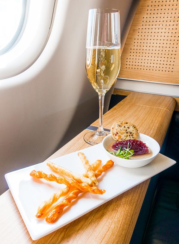 Swiss First Class Dining A330 300 Amuse Bouche Zurich Dubai LX242