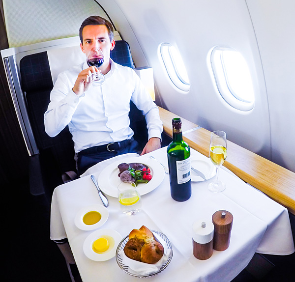 Swiss First Class Dining A330 300 Bart Lapers Seat 2A