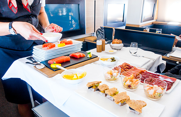 Swiss First Class Lunch First Course Cart Balik Salmon