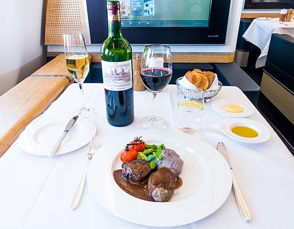 Swiss First Class Lunch Seared Veal Tenderloin Braised Veal Cheek