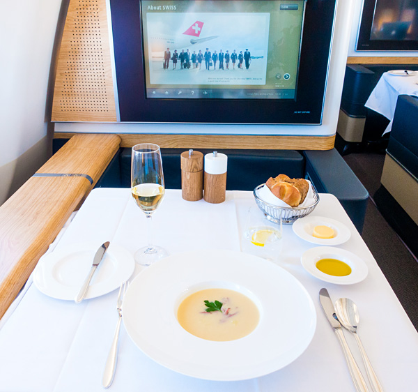 Swiss First Class Lunch Zurich Dubai Apple Soup