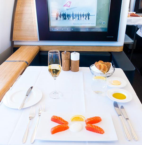 Swiss New First Class A330 Dining Balik Salmon