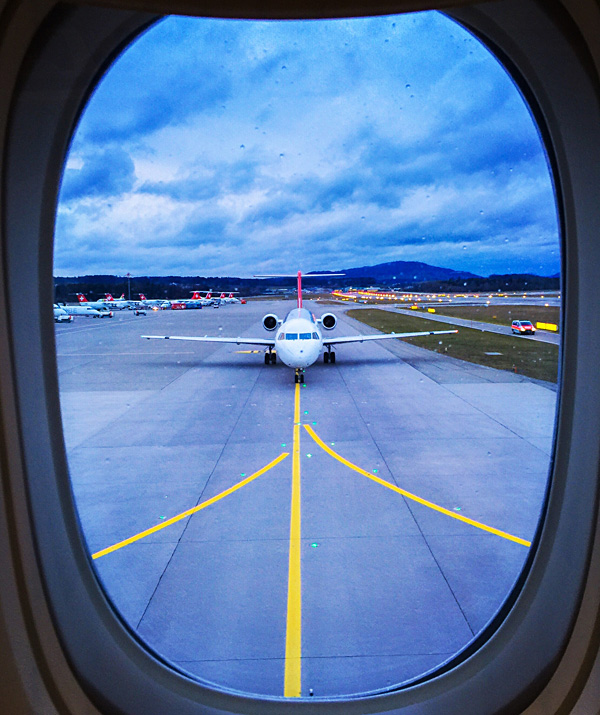 Awesome runway view before take off in Zurich