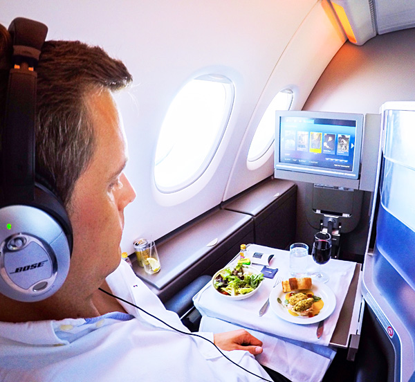 Business Class meal service British Airways A380 London to SanFrancisco
