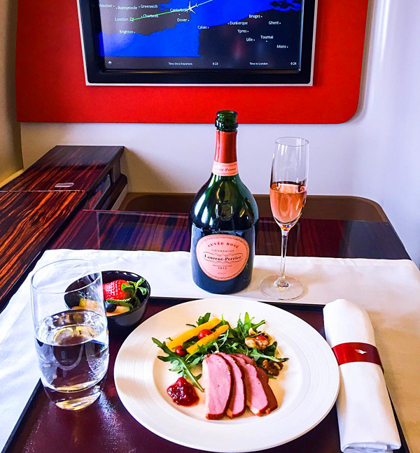 Garuda Indonesia First Class Laurent Perrier Cuvee Rose Brut Champagne