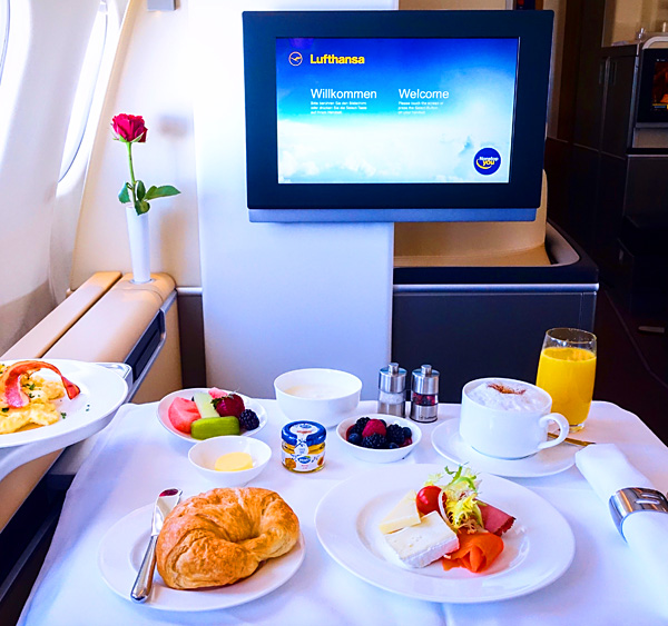 Lufthansa First Class Breakfast Service