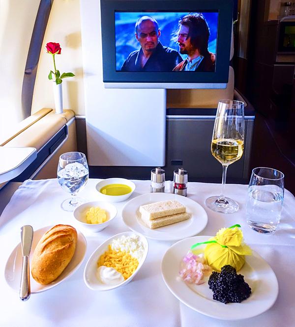 Lufthansa First Class Caviar Service