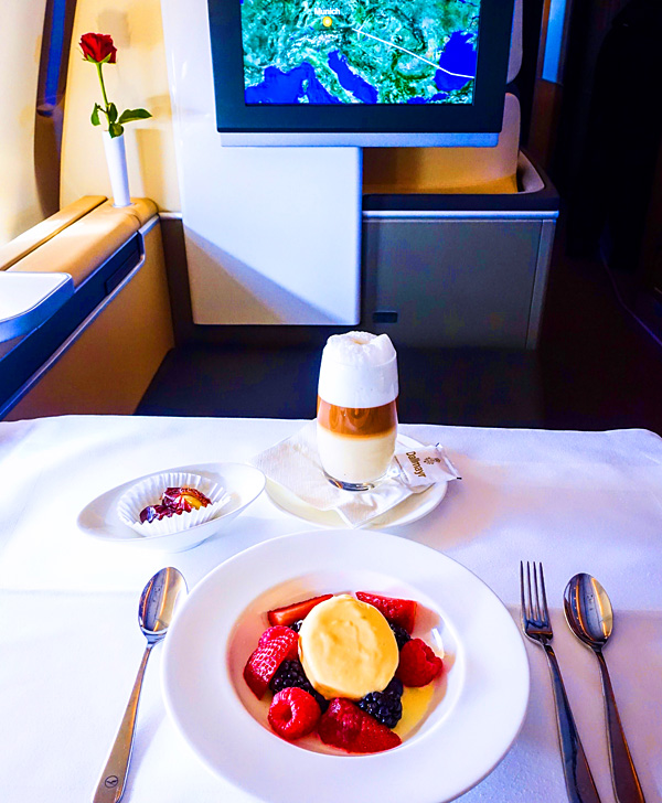 Lufthansa First Class Delicious Dessert on approach Munich